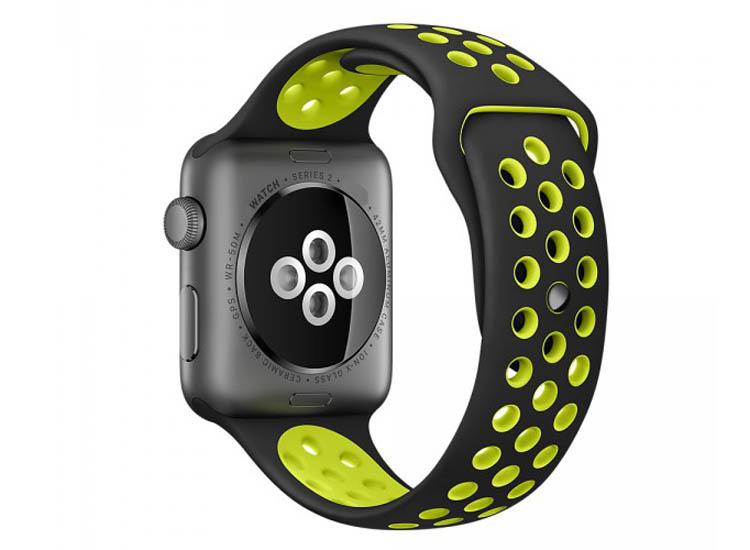 curea silicon apple watch verrde cu negru