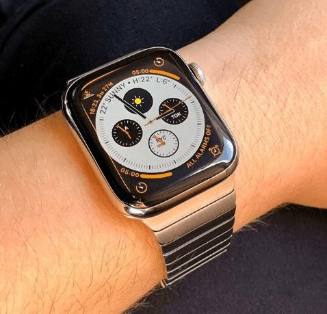 Bratara cu zale late din metal pentru Apple Watch 4