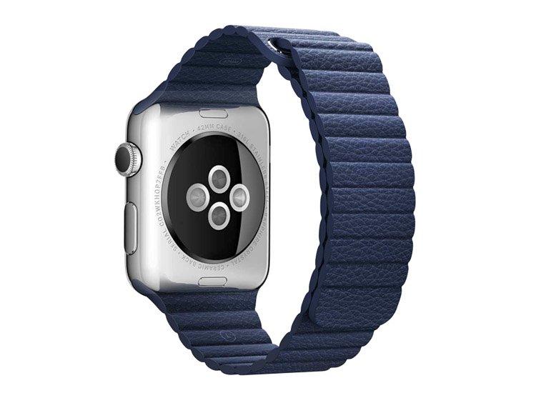 curea albastra din piele naturala pentru Apple Watch 38 42 mm