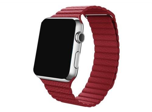 Curea piele rosu inchis pentru Apple Watch 38mm si 42mm