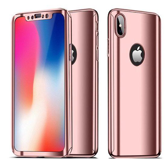 husa completa cu folie de sticla pentru apple iphone x roz