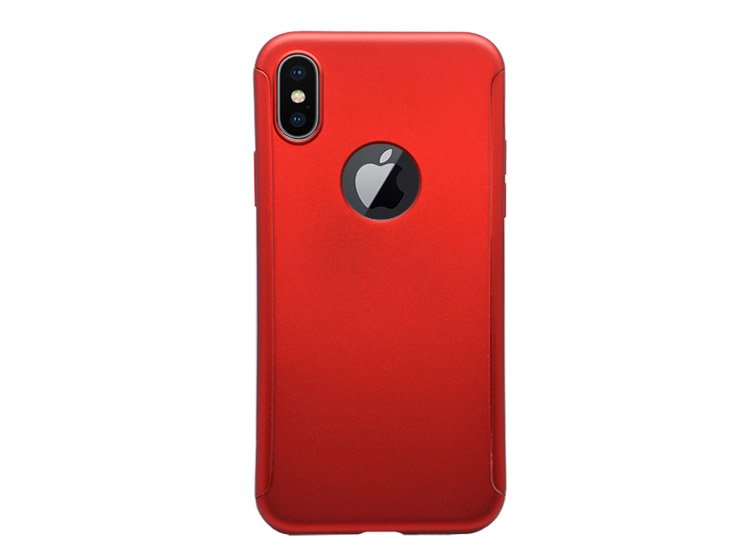 husa cu gaura logo apple iphone x rosu red